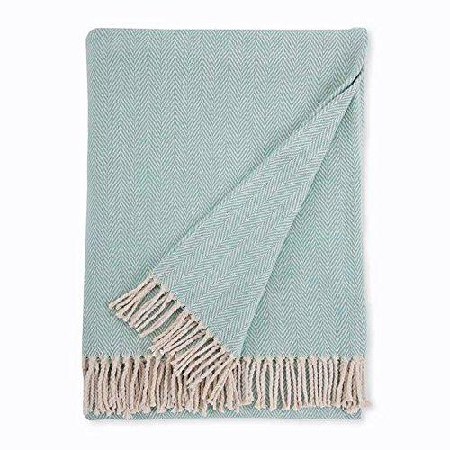 Sferra Celine Herringbone, 100% Cotton Throw Blanket - Aqua from Sferra