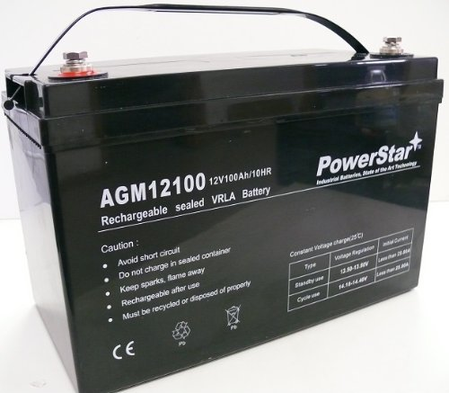 PowerStar 12V 100Ah Group 27 Solar Panel SLA Rechargeable Battery by PowerStar