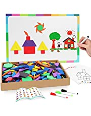 Joy Dynasty 190 Pcs Magnetic Pattern Blocks Set Geometric Manipulative Shape Puzzle Educational Montessori Tangram Learning Toys for Toddlers Kid Ages 4-8 with Magnetic Board