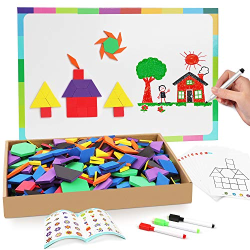 Joy Dynasty 144 Pcs Magnetic Pattern Blocks Set Geometric Manipulative Shape Puzzle Educational Montessori Tangram Learning Toys for Toddlers Kid Ages 4-8 with Double-Sided Magnetic Board