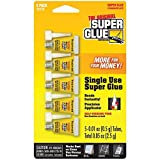 Single Use Super Glue, Self-Piercing Tube, 0.01 Ounce each, 5 count, (Pack of 3)