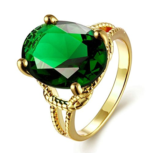 [Gold Plated Ring, Women's Wedding Bands Rose Gold Green Cubic Zirconia Round Shaoe Size 8 Epinki] (Blade Of Grass Costume)