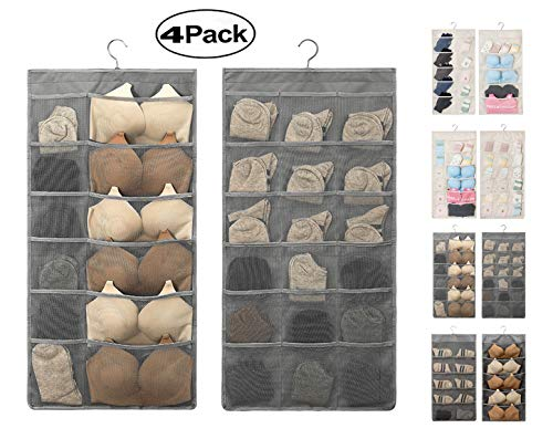 AARainbow Dual-Sided Hanging Closet Organizer with Pocket for Underwear Stocking Toiletries Accessories Bra Dresser Panty Socks Drawers Home Basics 15.7 in31.5 in(1Gray+1B-Gray+1Beige+1B-Beige)