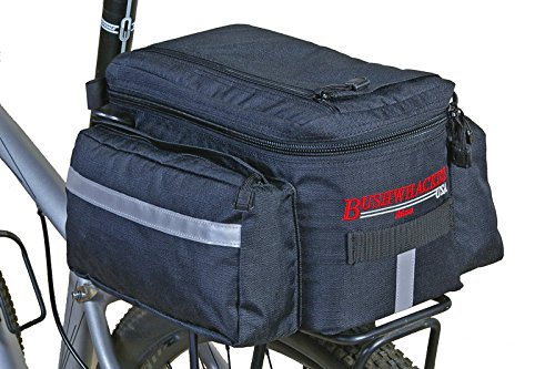 Bushwhacker® Mesa Trunk Bag Black – w/ Rear Light Clip Attachment & Reflective Trim – Bicycle Trunk Bag Cycling Rack Pack Bike Rear Bag