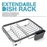 #7: Expandable Dish Draining Rack - Over the Sink Dish Drainer, Dish Rack In Sink Or On Counter With Utensil Holder