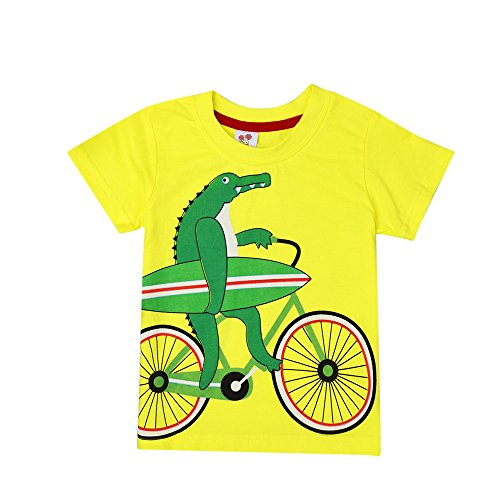 DIGOOD Teen Baby Boys Girls Cartoon Alligator Print T-Shirt,for 1-8 Years Old,Kids Blouse Tops Clothes Set (Yellow, 3-4 Years Old)