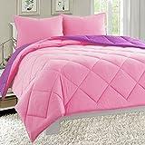 Pink and Purple Comforter Sets Queen Elegant Comfort All Season Light Weight Down Alternative Reversible 3-Piece Comforter Set, Full/Queen, Pink/Purple