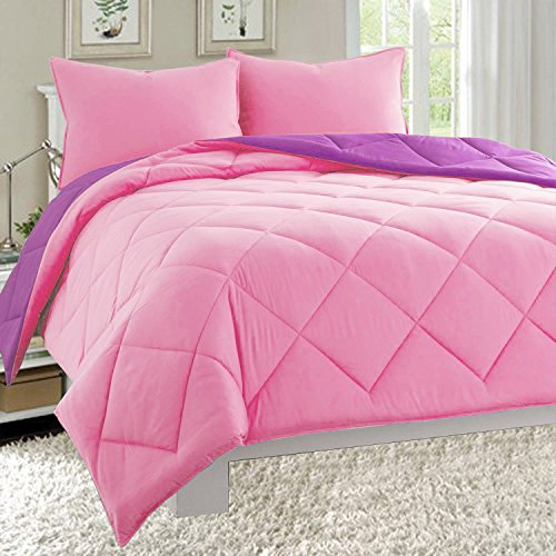 Elegant Comfort All Season Light Weight Down Alternative Reversible 3-Piece Comforter Set, Full/Queen, - Purple & Pink