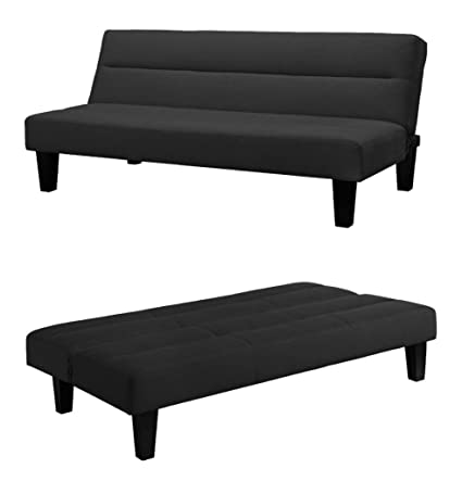 Black Convertible Living Room Bedroom Dorm Furniture Set Futon Sleeper  Reclining Couch Sofa