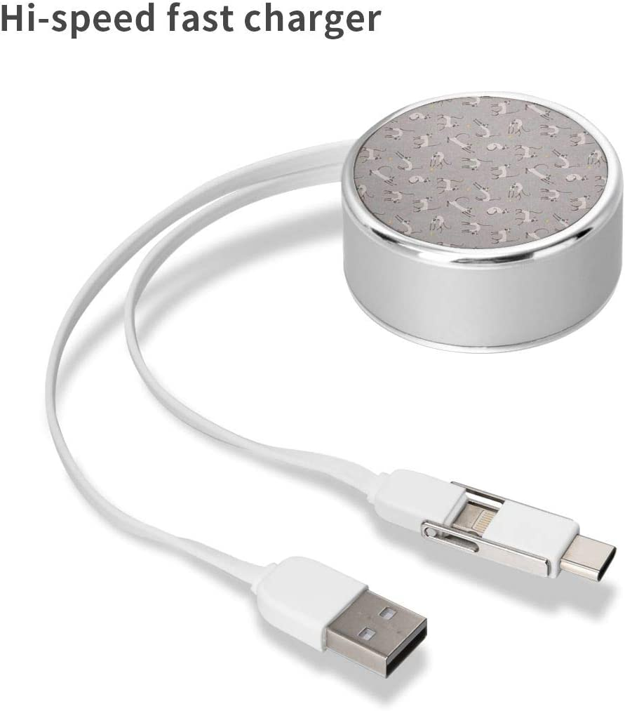 Charging Cable Can Be Charged and Data Transmission Synchronous Fast Charging Cable-Gray Geometry Free 14 Round USB Data Cable