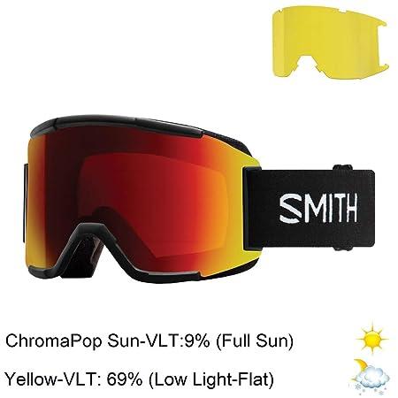 Smith Optics Squad Adult Snow Goggles – Black Chromapop Sun Red Mirror One Size
