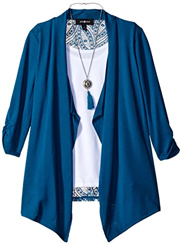Amy Byer Big Girls' 3/4 Sleeve 2fer Cozy With Lace Back, Peacock, Medium