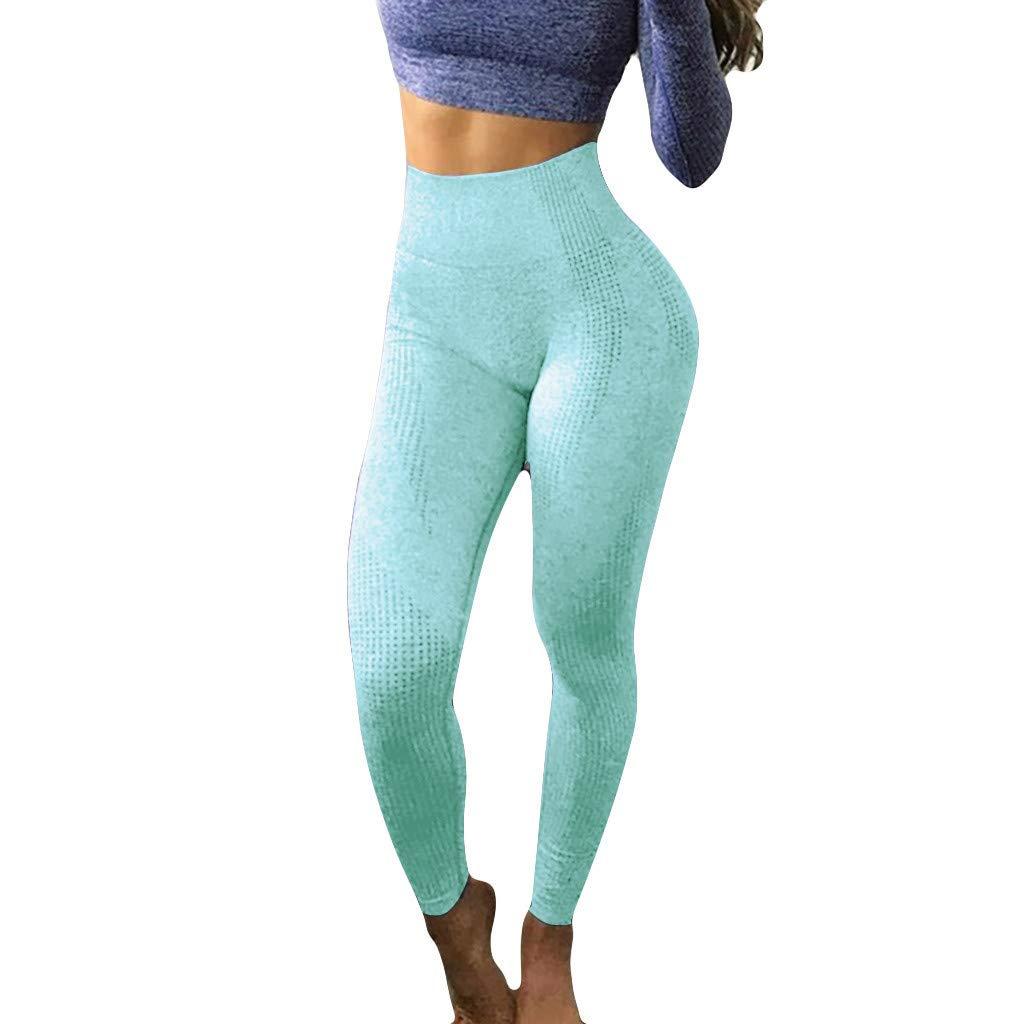 ZhixiaYS Women Hip Seamless Yoga Pants High Waist Speed Dry Sport Pant Jacquard Point Fitness Pants Sky Blue