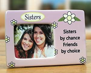 sister photo frame desktop frame with sisters by chance saying printed on it purple with daisies