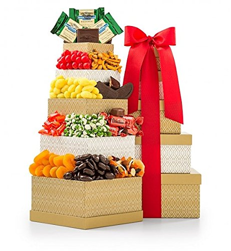 Candy Nuts Bouquet (GiftTree Classic Confections Gourmet Food Gift Snack Tower | Sweet and Savory Collection Includes Gourmet Popcorn, Chocolates, Truffles, Wasabi Peas, Fresh Nuts, Old Fashioned Candy)