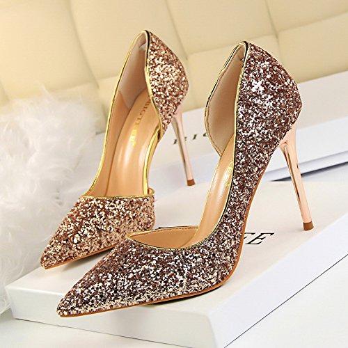 Superior Zapatos Tacón Y Zapatos GAOLIM Solo Señaló Zapatos Verano Alto Superficialmente Color Tacón champán Con Alto XqqTF7BwO5