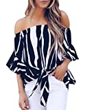Womens Summer Sexy Off Shoulder Striped Short Sleeve T-Shirt Casual Knot Tie Chiffon Blouse Top (Black,M)