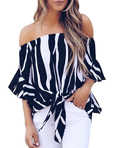 Womens Summer Sexy Off Shoulder Striped Short Sleeve T-Shirt Casual Knot Tie Chiffon Blouse Top (Black,M) -