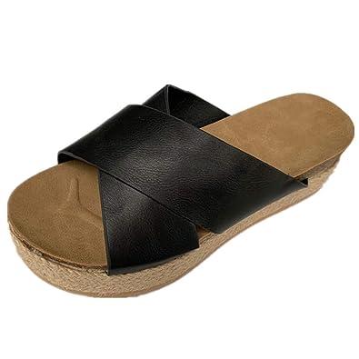 eb48f05abf7d Hurber Women\'s Platform Espadrilles Criss Cross Sandals Slide-on Open Toe  Faux