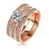 Evertrust (TM)Gift For Women Rings Real Rose Gold/Platinum Plated Pave Austria Crystal Women Rings Jewelry - Ri-HQ1061