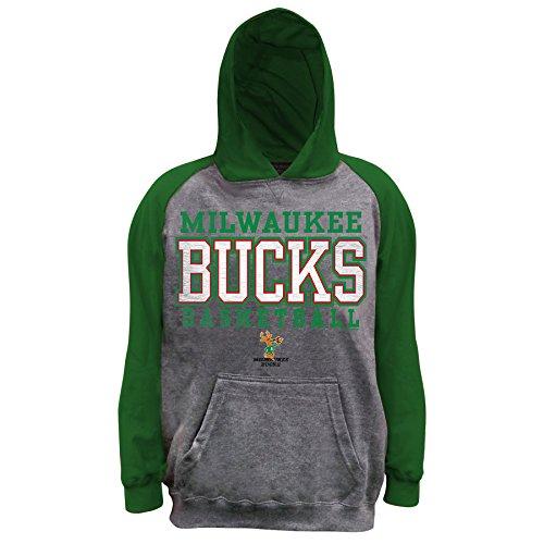 NBA Milwaukee Bucks Unisex Pullover French Terry Hood, Char/Dk Green, M (Hood Buck)