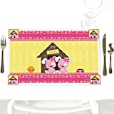 Twin Girl Puppy Dogs - Party Table Decorations - Baby Shower or Birthday Party Placemats - Set of 12