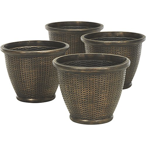 (Decorative Faux Wicker Resin Planters — 4-Pc. Set)