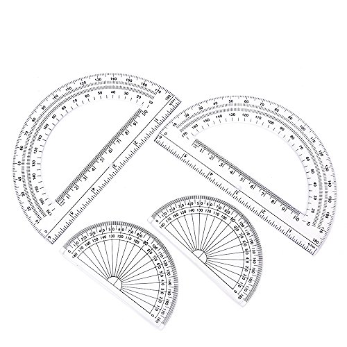 Hot 2+2 Pack Plastic Protractors 180 Degrees, 6 Inches and 4 Inch, Clear hot sale