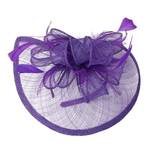 [MagiDeal Aliceband Hat Fascinator Feather Headband Wedding Lady Royal Ascot Purple] (Hats & Fascinators Online)