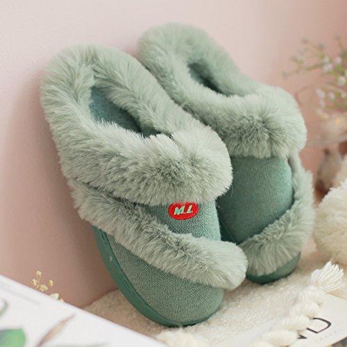 Cotone fankou pantofole donna fondo spesso home inverno interno pavimento in legno felpato caldo inverno donne, 40-41 (per 39-40 piedi usura), - verde