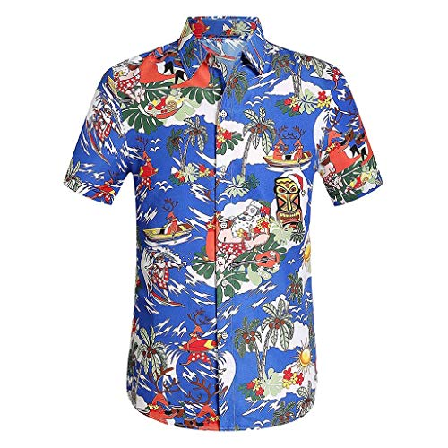 YOCheerful Men's Tops Casual Printed Button Down Shirts Short Sleeve Shirts Hawaiian Tops Beach Blouses Dark Blue ()