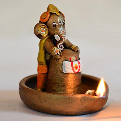 (ExclusiveLane Terracotta Handpainted Copper Finish Baby Ganesha Holding Lord Shiva In Pound -Ganpati Murti Spiritual Idols Figurine Indian Religious Statues Showpiece Home Decor Religious Gift Item)