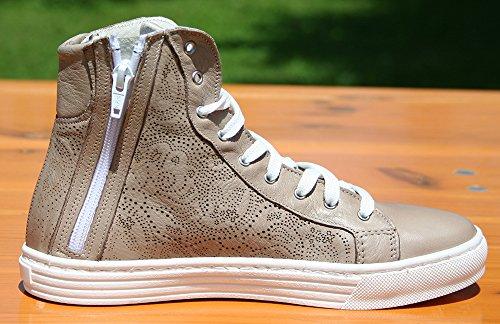 Full Alte Italy Sneakers Scarpe Fantasia Incisione Vera Beige Con Joyshop Made Moda Ad In Laser Pella Donna qtvI58