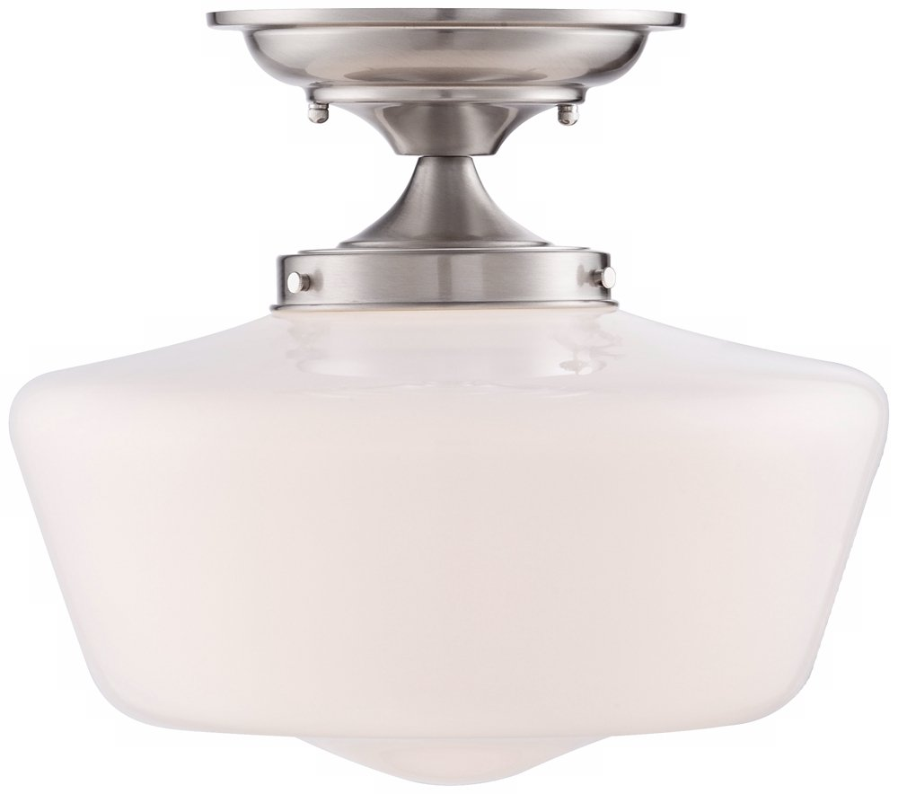 Schoolhouse floating 12 wide brushed nickel ceiling light close schoolhouse floating 12 wide brushed nickel ceiling light close to ceiling light fixtures amazon arubaitofo Image collections