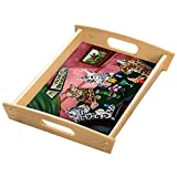 Home of Bengal Cats 4 Dogs Playing Poker Wood Serving Tray with Handles Natural
