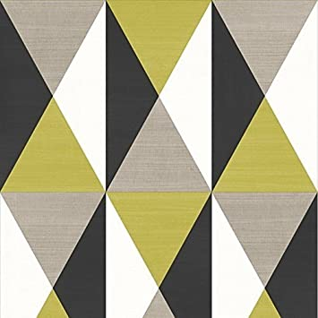 Papier Peint Muriva Rhombus Motif Géométrique Moutarde J67904