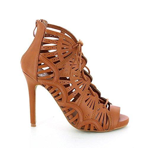 Go Mode - Sandals High Heel Cut Lace - Heel 11 cm - Woman Brown 8Z0x8