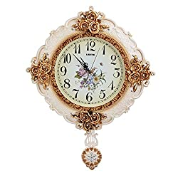 ATPWONZ Dia 22 inches Large Royal Style Wall Clock Vintage Ultra Silent Plastic Wall Clock Pendulum