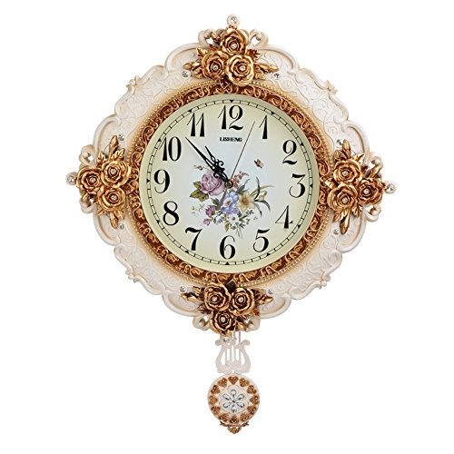 Usa Quartz Carbon (ATPWONZ Dia 22 Inches Large Royal Style Wall Clock Vintage Ultra Silent Plastic Wall Clock with Pendulum)