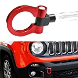 iJDMTOY Sports Red Track Racing Style Aluminum Tow Hook For 2015-up Jeep Renegade Latitude, Sport, Limited models (Except Trailhawk)