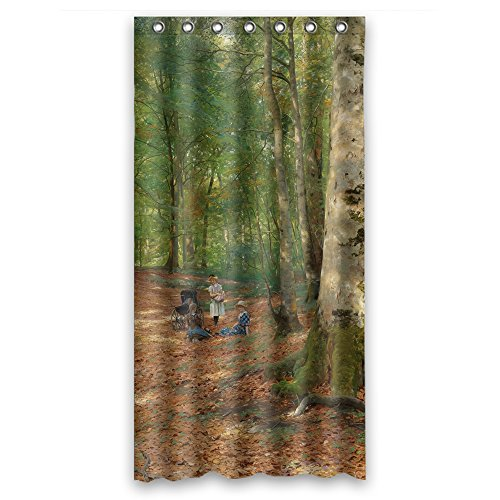 Monadicase Polyester Beautiful Scenery Landscape Painting Bath Curtains - Shamrock Shape Template