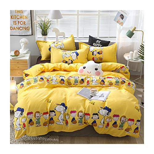 KFZ Bed Set Bedding Set Duvet Cover (No Comforter) Bed Flat Sheet Pillow Covers Twin Full Queen King Sheets Set ZL1906 Pineapple Dinosaur Family Design for Kids (Happy Family, Yellow, King 86
