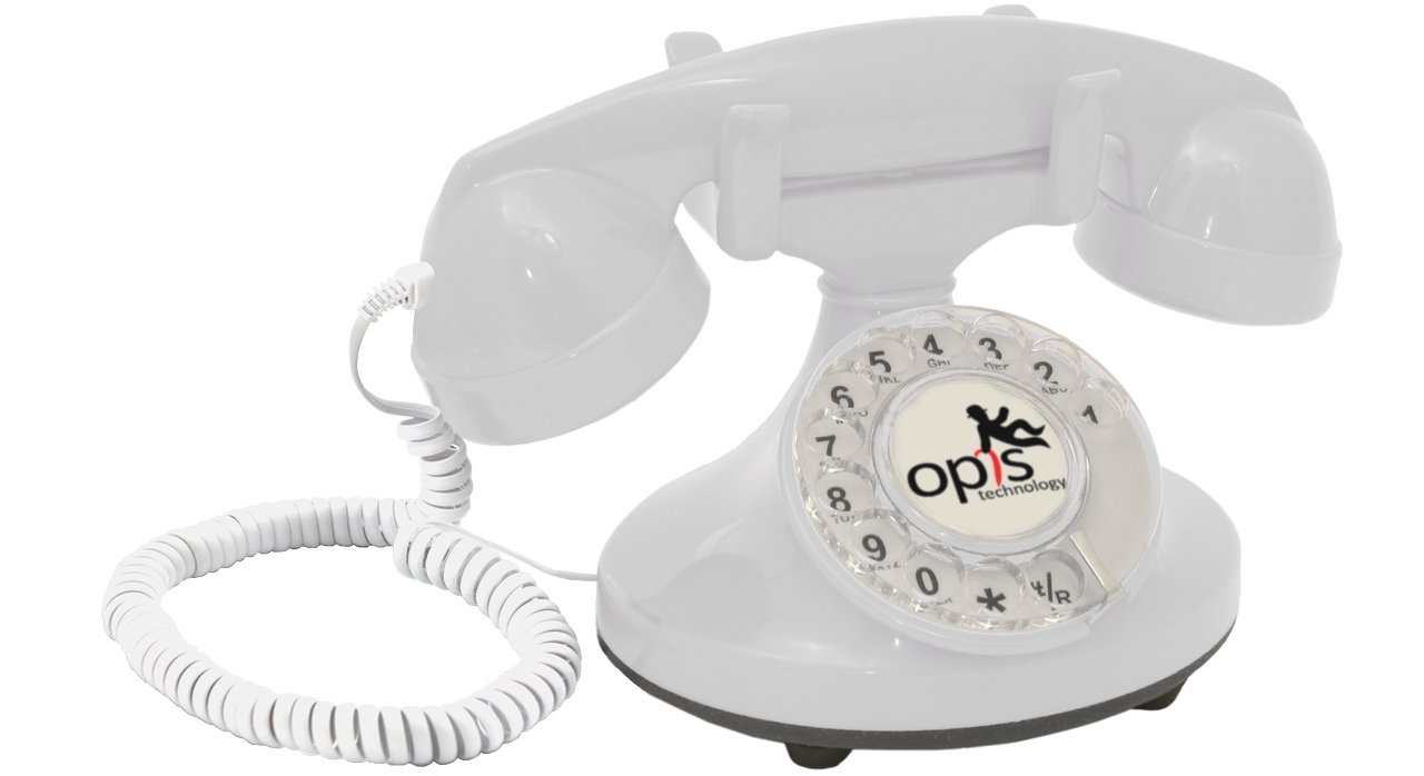 OPIS PushMeFon cable red 1970s inspired fixed-line push-button retro telephone with classic metal bell ringer