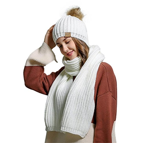 (Women Crochet Hat Fur Woolen Knit Beanie Pom Raccoon Warm Caps+Knitting Wool Warm Scarf Shawl (White))
