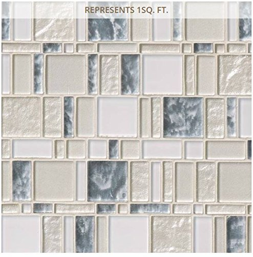 Price comparison product image Chantilly STAX 11.85 in. x 11.97 in. x 8 mm Glass Mesh-Mounted Mosaic Tile