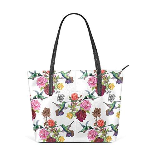 COOSUN Colibríes con las flores exóticas de la PU de cuero bolso monedero y bolsos de la bolsa de asas para las mujeres Medio muticolour
