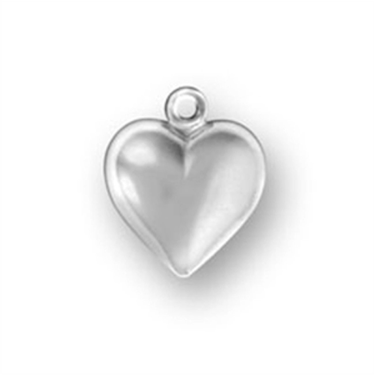 Sterling Silver 7 4.5mm Charm Bracelet With Attached Small Puffed Heart Charm