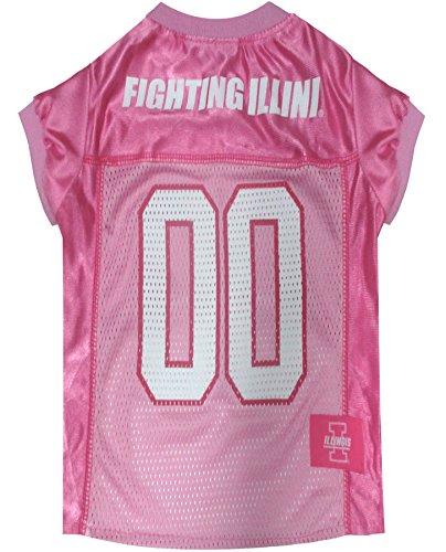 NCAA Illinois Fighting Illini Dog Pink Jersey, X-Small. - Pet Pink Outfit. - Illinois Fighting Illini Dog