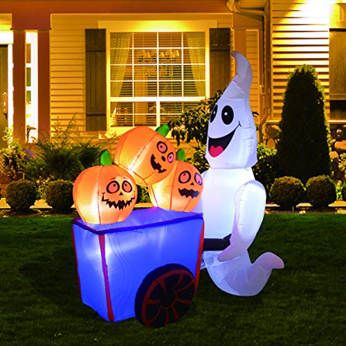 GOOSH Giant 8 Foot White Ghost with Pumpkin Cart LED Lights Decor Outdoor Indoor Holiday Decorations, Blow up Lighted Yard Decor, Lawn Inflatables Home Family Outside