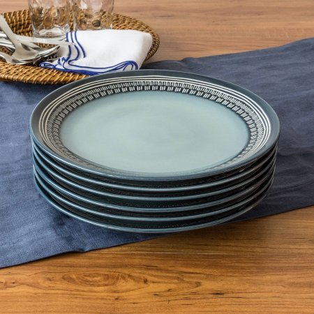 Teal Medallion Dinner Plates, Teal, Set of 6 (Bowling Pin Party Container compare prices)